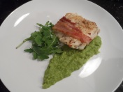 Bacon Wrapped Haddock, and Pea Puree