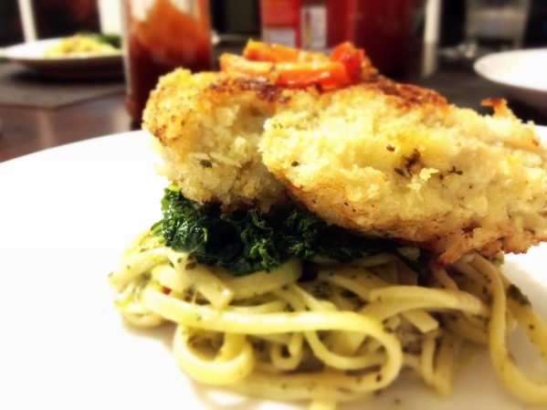 Pan-fried Chicken, with Sauteéd Kale and Pesto Pasta