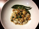 Spicy Thai Basil Chicken, with Sesame Green Beans