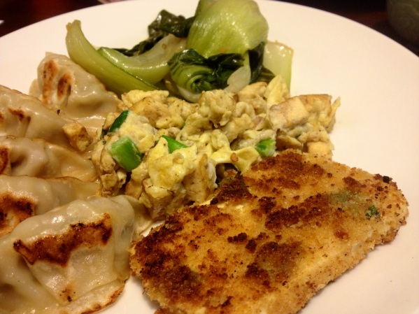 Served with dumplings, bok choy and scrambled egg, tofu hash
