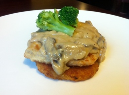 Pan-Fried Pork Chop and Hashbrown, with Mushroom Cream Sauce